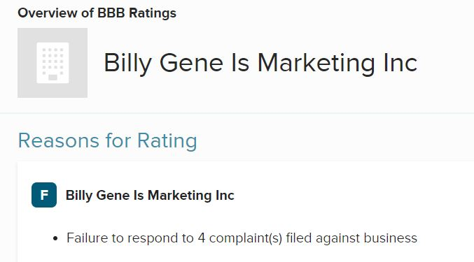 Is Billy Gene Is Marketing A Scam? bbb rating