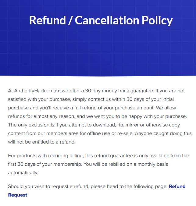 The Authority Site System Review: Is Authority Hacker A Scam? refund policy