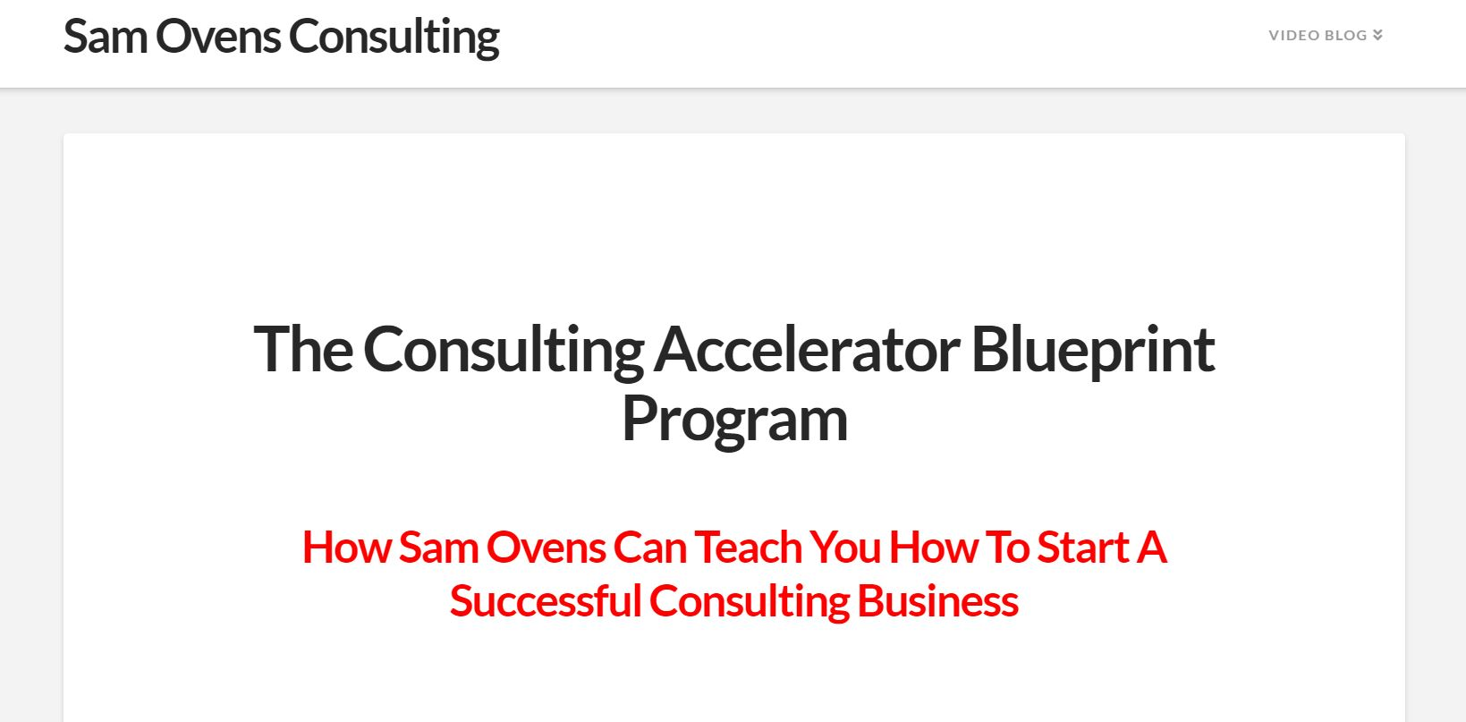 Sam Ovens Consulting Accelerator website