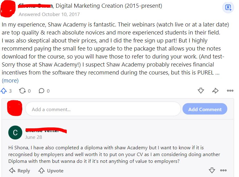 Warning: Shaw Academy A Scam —is It?  quora review thread positive review