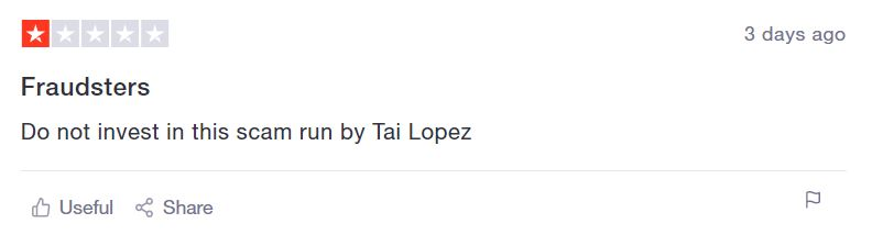 Tai Lopez — Scam trustpilot complaint