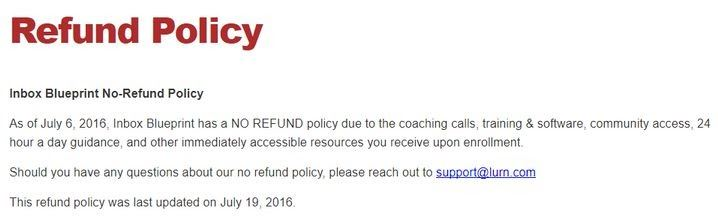 What Is Inbox Blueprint About refund policy