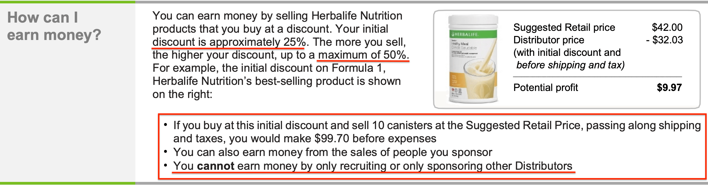 Can You Make Money Selling Herbalife Herbalife US Income Disclosure 2015_Retail Profit Commissions