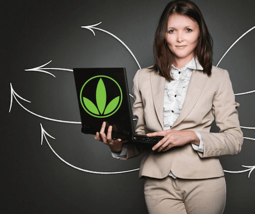 Can You Make Money Selling Herbalife? Herbalife lady trying to make money on laptop