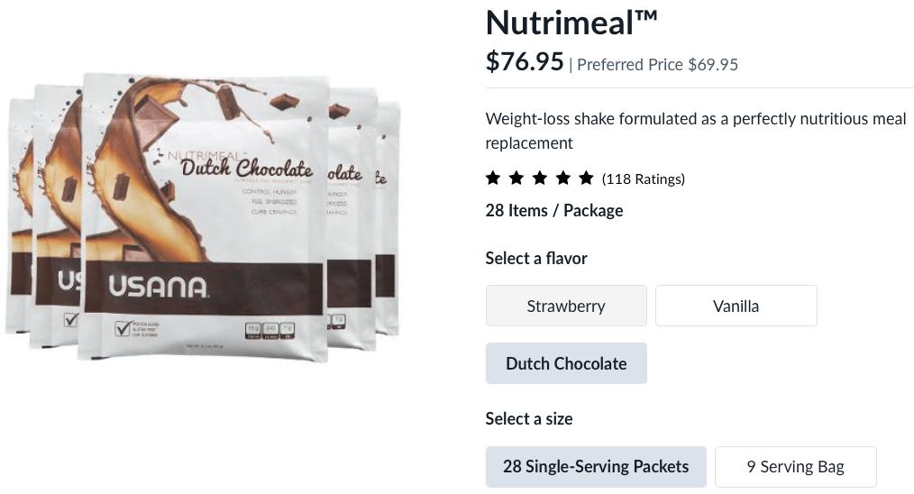 USANA Choc Nutrimeal-Retail Price