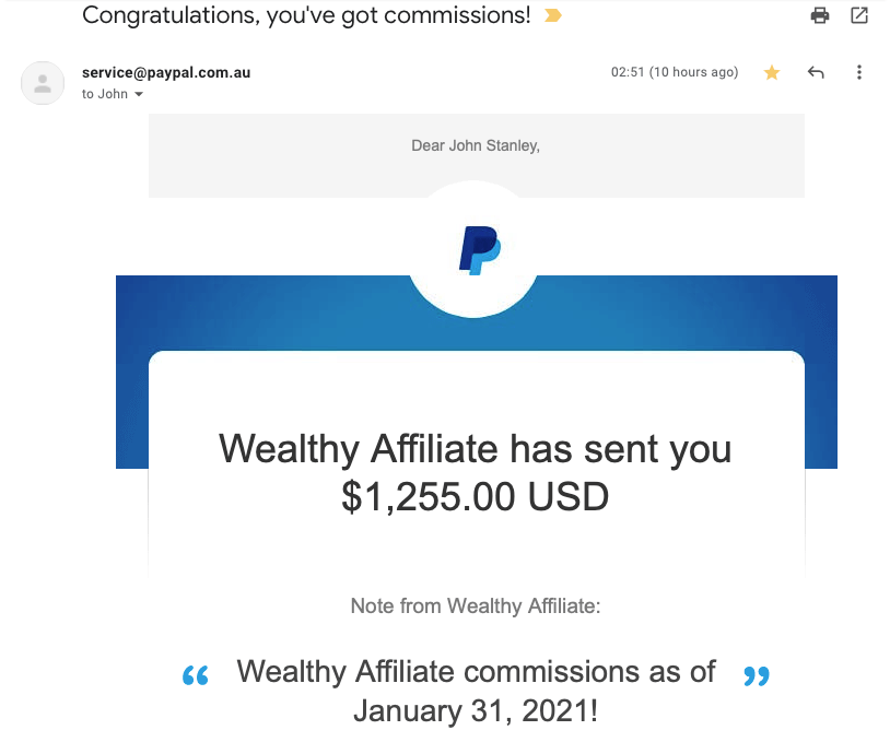 Passion into Profit 20210202 Wealthy Affiliate Commissions to 31 Jan 2021