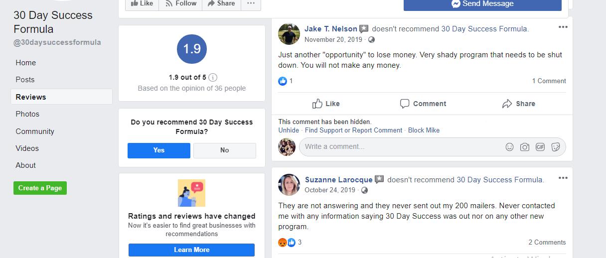 30 Day success formula facebook-complaints