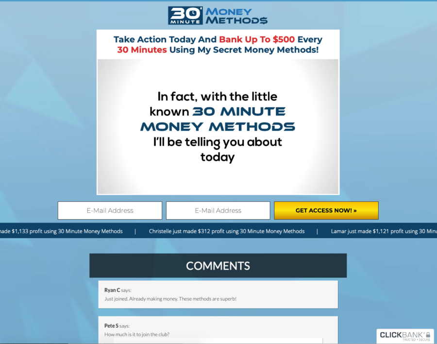 30minute profit formula Video Only Sales Page