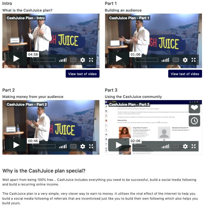 What is CashJuice About Cash Juice Plan training