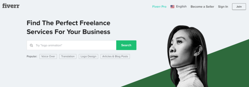 Gig economy online jobs Fiverr home page
