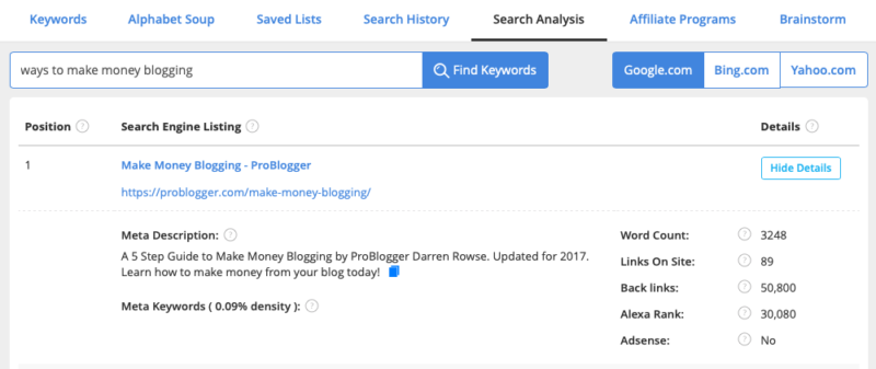 Jaaxy Keyword Research Tool Review Search Analysis Ways to make money blogging
