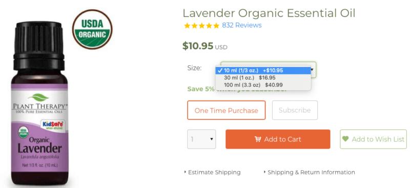 Plant Therapy Lavender Essential Oil 10ml 30ml