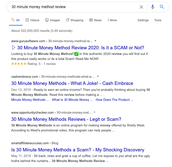 ways to avoid work from home scams online Google search for reviews Screen Shot 2020-05-18 at 3.10.17 pm