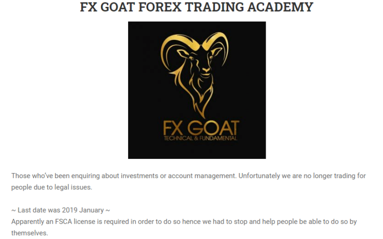What is Fx Goat About No FSCA License