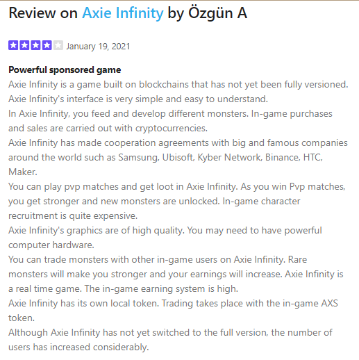 Is Axie Infinity a Scam Positive Reviews