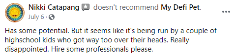 My DeFi Pet Review Negative Review