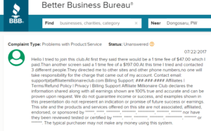 Is Affiliate Millionaire Club a Scam unauthorized charge complaint screenshot
