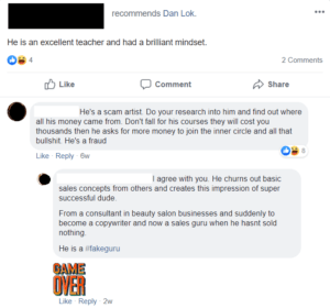 Dan Lok High Ticket Closer Program Facebook review