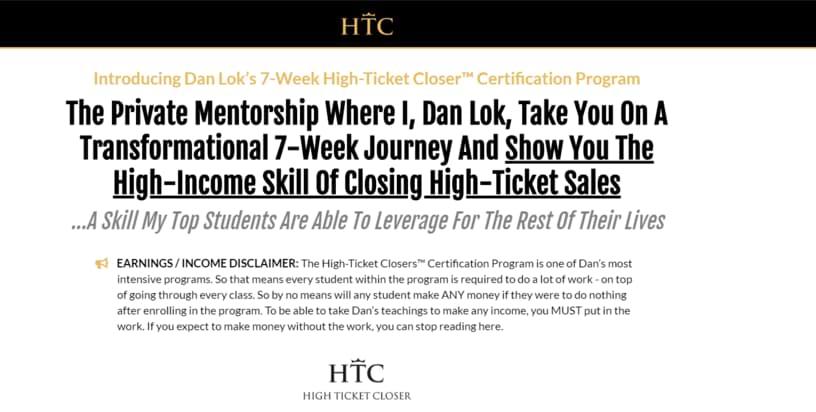 Dan Lok High Ticket Closer Program htc website
